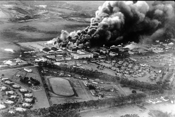 "A report entitled ""7 December 1941: The Air Force Story"" compiled by the Pacific Air Forces Office of History obtained this photo of Wheeler Air Field taken by a Japanese Empire pilot to record the battle damage to the U.S. Air Forces Dec. 7, 1941."