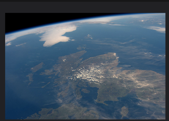 """Nearly Cloudless Scotland, As Seen From the ISS The International Space Station's Expedition 48 Commander Jeff Williams tweeted this photo recently with the caption """"We had a great view of Scotland today…very rare to not be covered with clouds."""""""