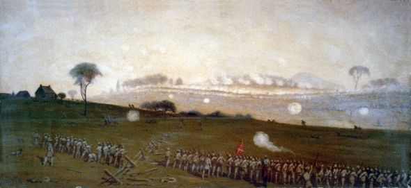 Pickett's Charge from a position on the Confederate line looking toward the Union lines, Ziegler's Grove on the left, clump of trees on right, painting by Edwin Forbes