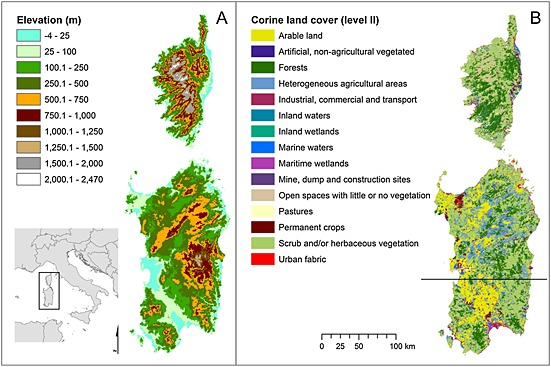 figure-1-map-of-sardinia-and-corsica-showing-a-elevation-and-b-major-vegetation