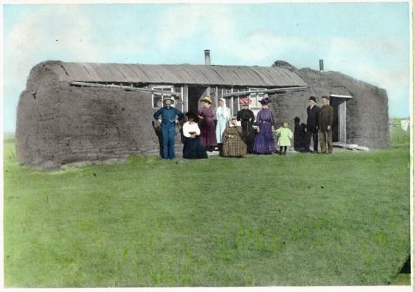 Sod house in Saskatchewan circa 1900