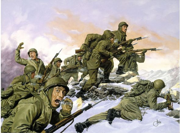 The Puerto Rican 65th Infantry Regiment's bayonet charge against a Chinese division during the Korean War. Dominic D'Andrea, commissioned by the National Guard Heritage Foundation
