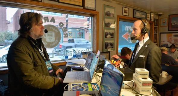 Breitbart News Daily Stephen K. Bannon interviews Stephen Miller for SiriusXM Broadcasts' New Hampshire Primary Coverage Live From Iconic Red Arrow Diner on Feb. 8 in Manchester, New Hampshire. | Getty