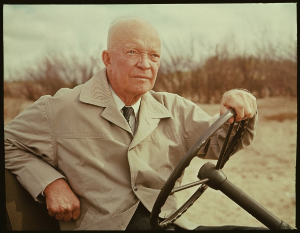 Former American President and military commander Dwight D. Eisenhower (1890 - 1969), with American journalist Walter Cronkite (not pictured), revisits Omaha Beach and other actual sites and locales connected with the World War II invasion during an episode of 'CBS Reports' called 'D-Day Plus 20 Years: Eisenhower Returns to Normandy,' France, April 3, 1964. (Photo by CBS Photo Archive/Getty Images)
